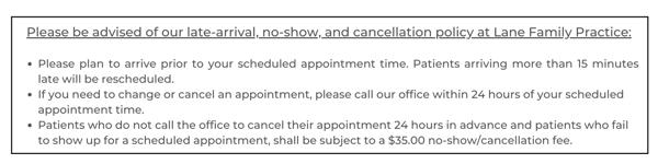 lane family medicine cancellation policy