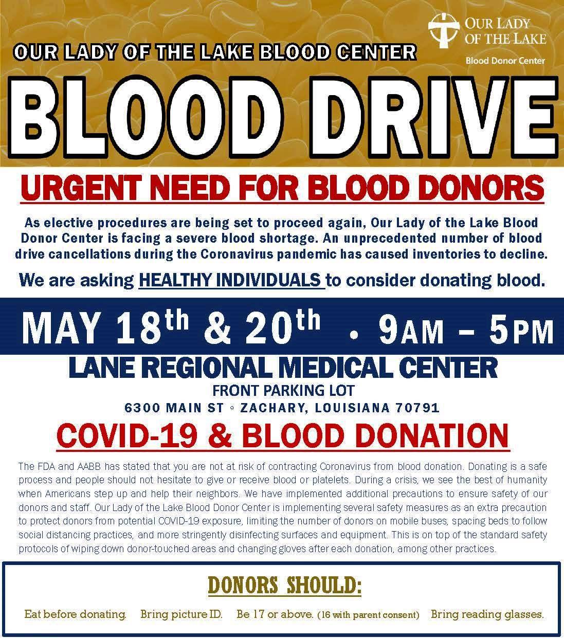 Urgent Need Blood Drive at Lane Regional