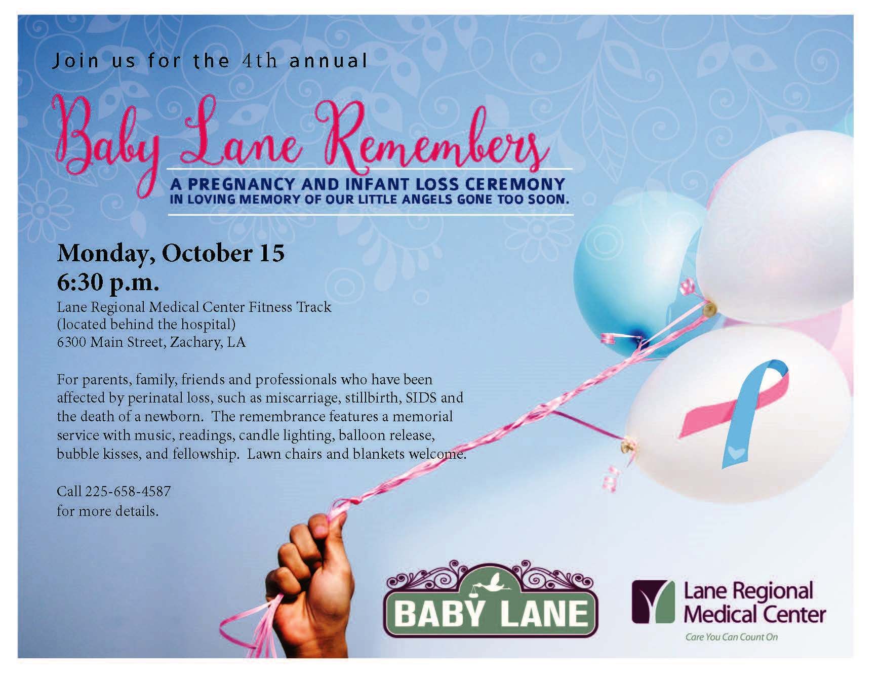Pregnancy and Infant Loss Remembrance Ceremony to be Held at Lane Regional Medical Center