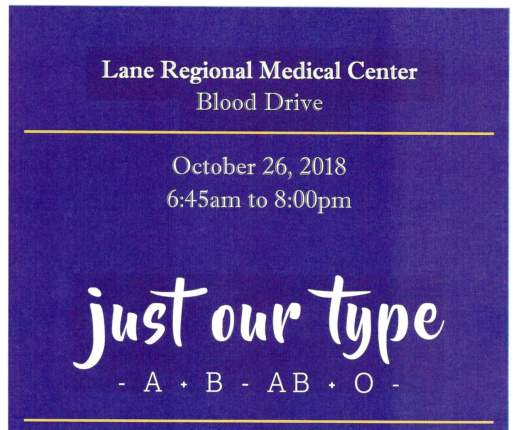 Blood Drive at Lane Regional Medical Center October 26