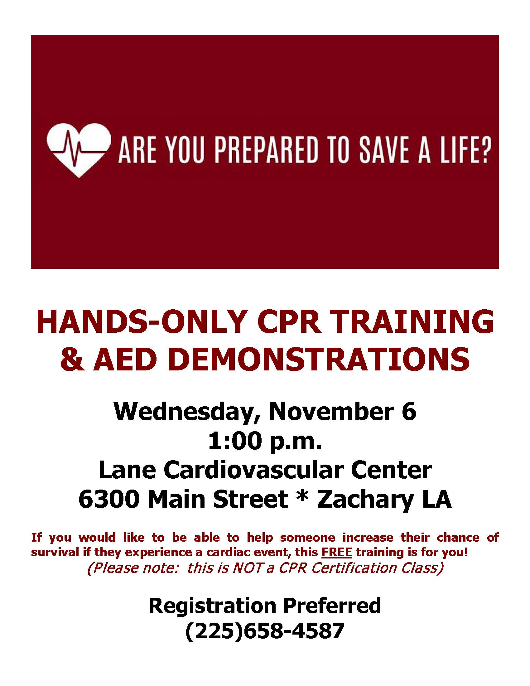 FREE Hands-Only CPR Training at Lane RMC November 6th