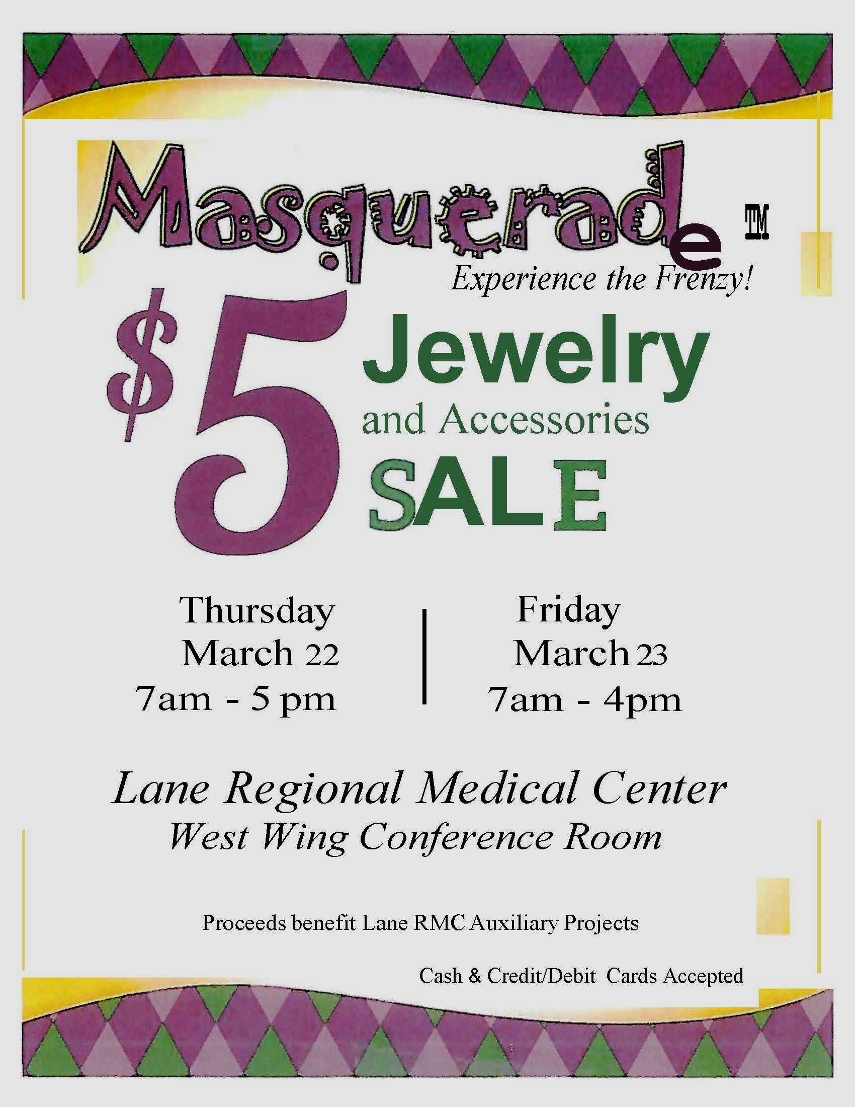 Lane Auxiliary to host $5 jewelry and accesories sale
