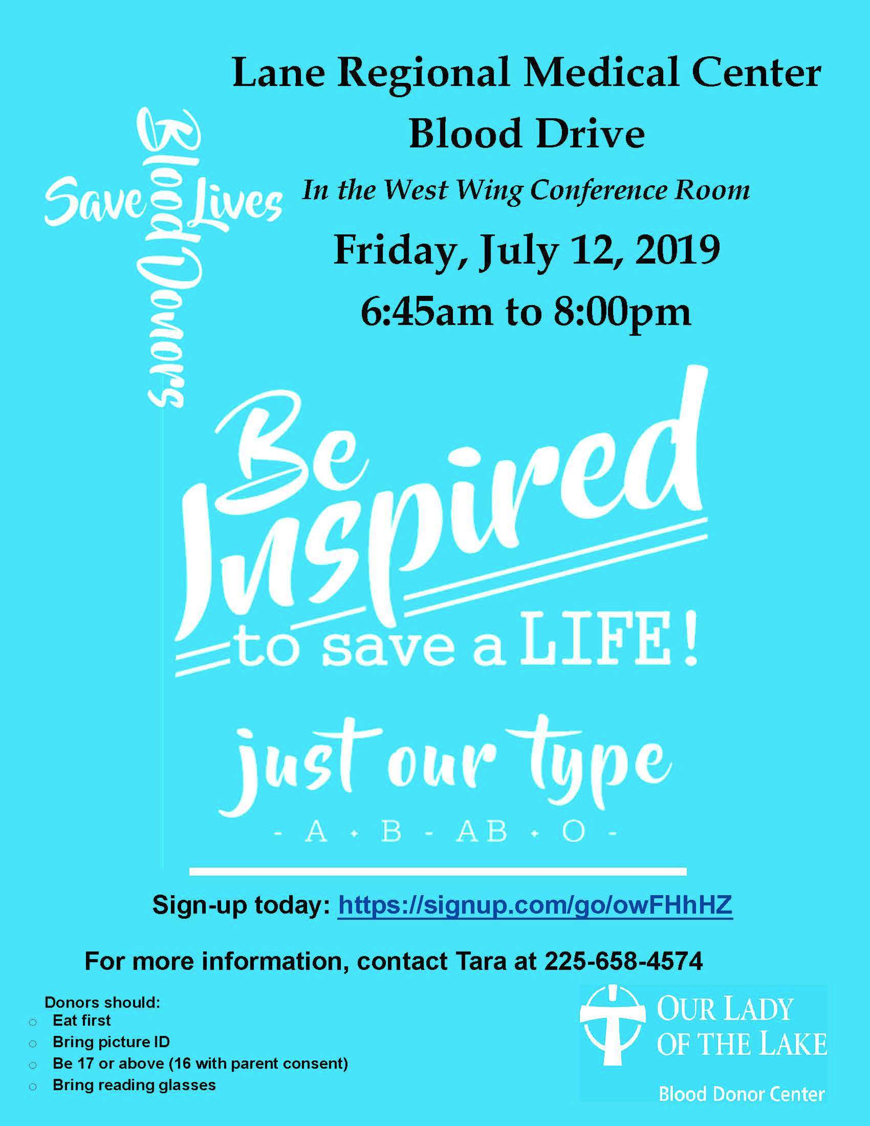 Blood Drive at Lane RMC Friday, July 12
