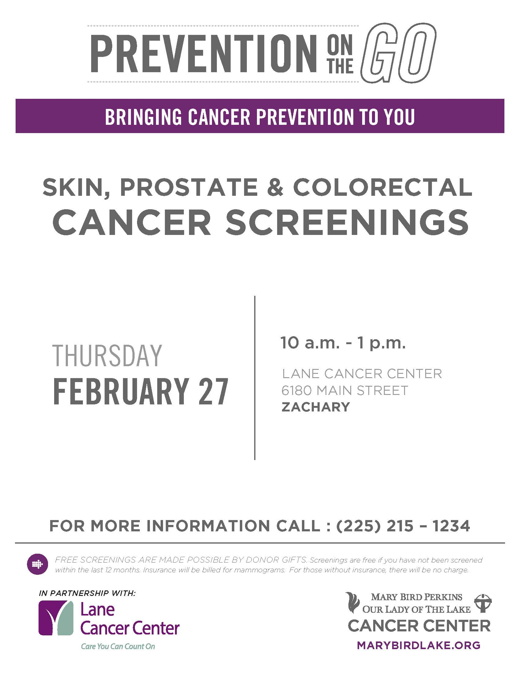 Free Cancer Screenings in Zachary