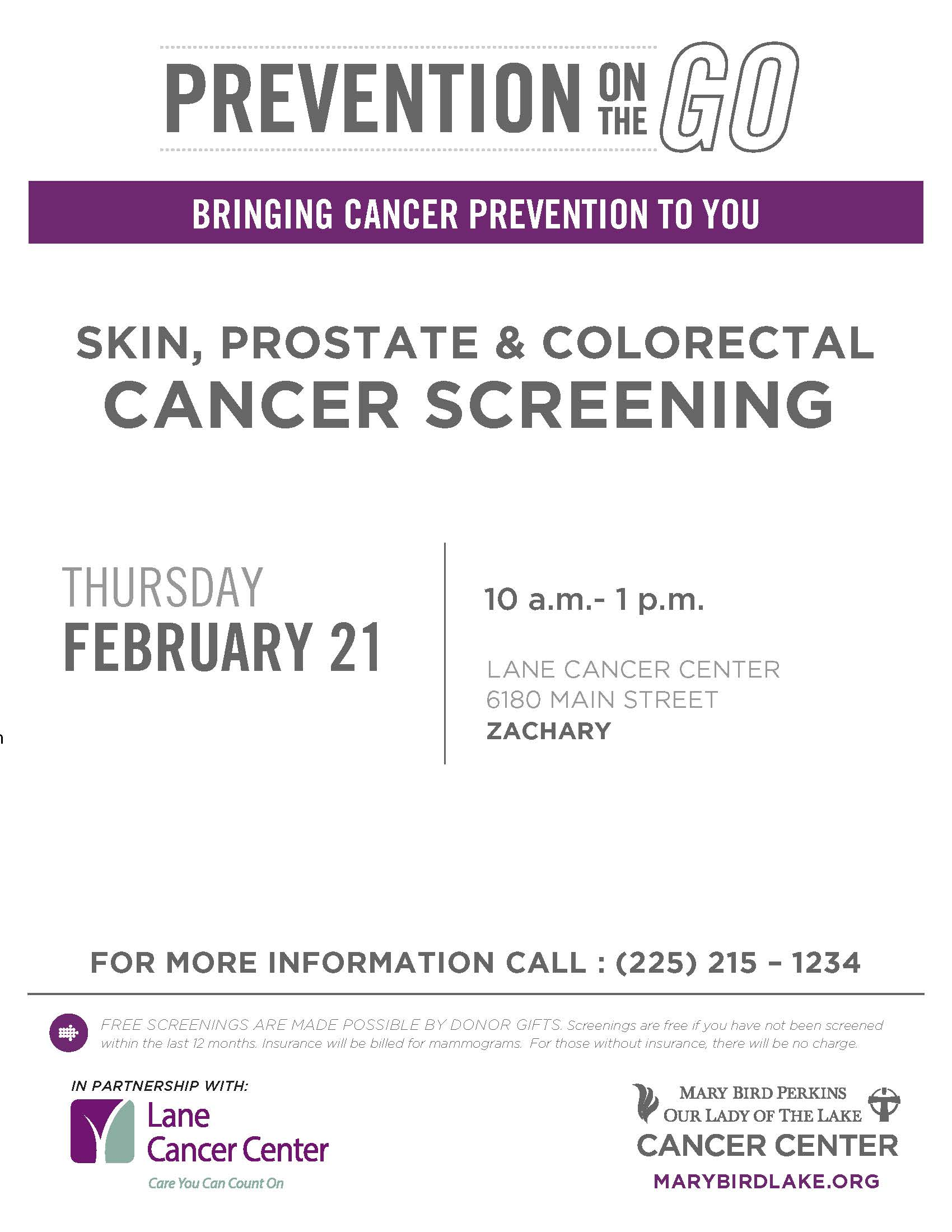 Free Cancer Screenings at Lane Cancer Center