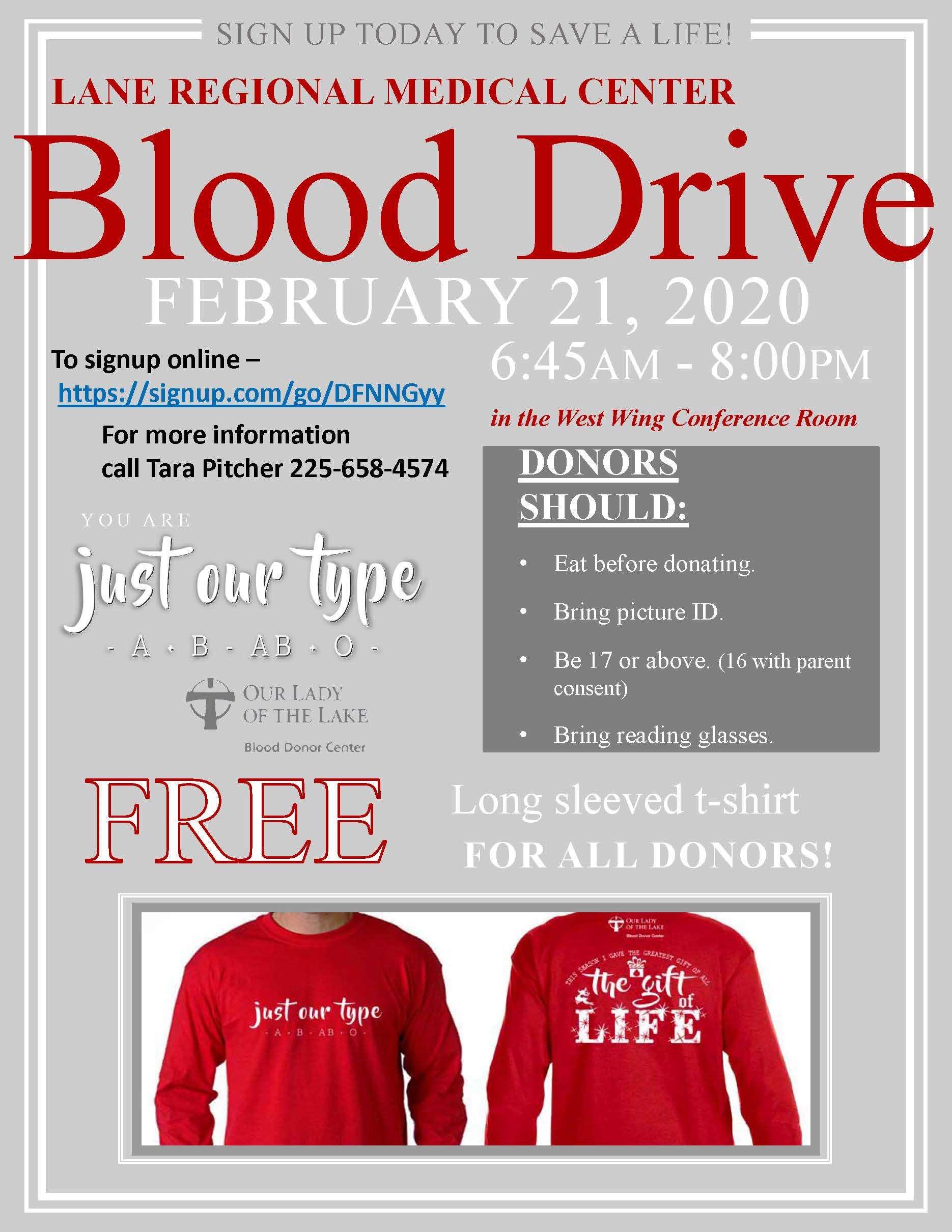 Blood Drive at Lane Regional Medical Center February 21st