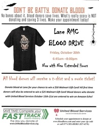 Blood Drive at Lane Regional Medical Center Friday, October 20th