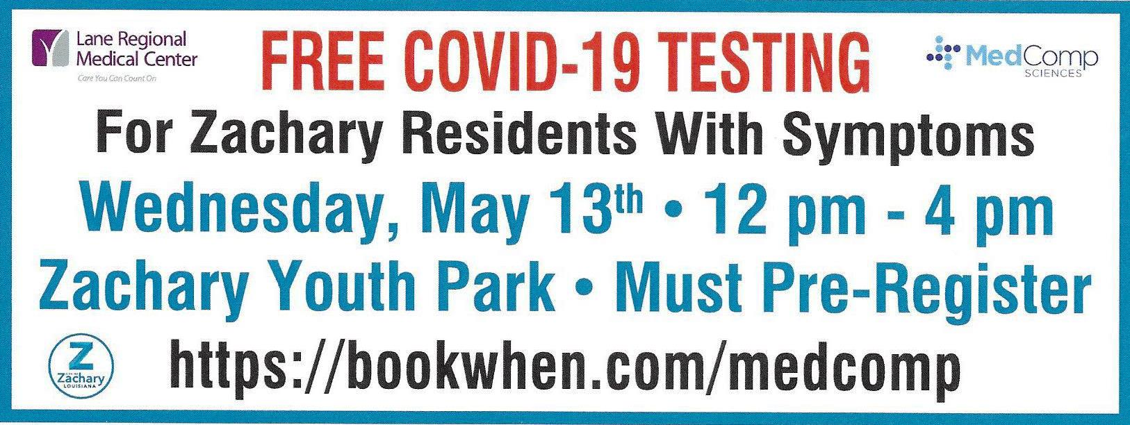 Free Covid-19 Testing for Zachary Residents Experiencing Symptoms