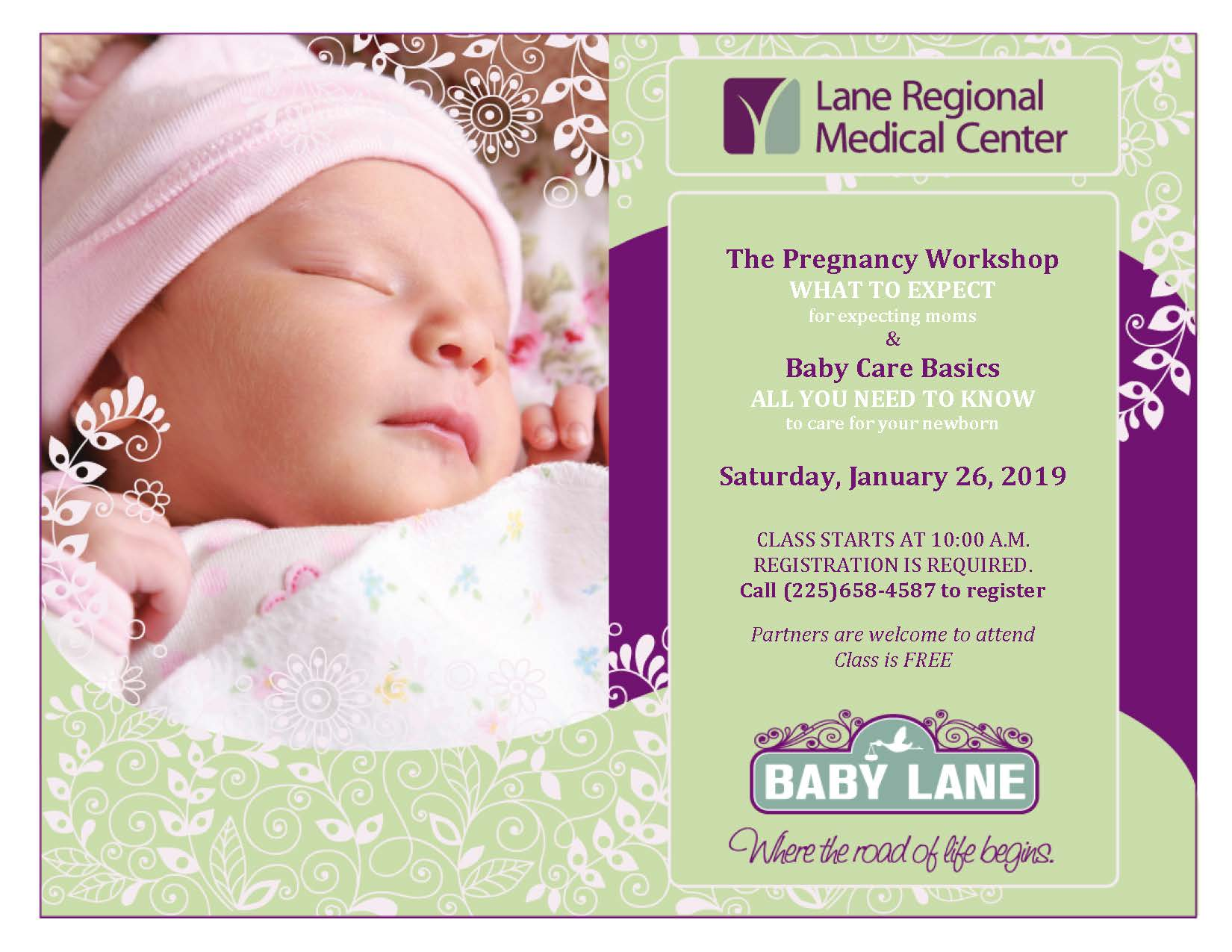 FREE Prenatal & Newborn Baby Care Class at Lane Regional Medical Center