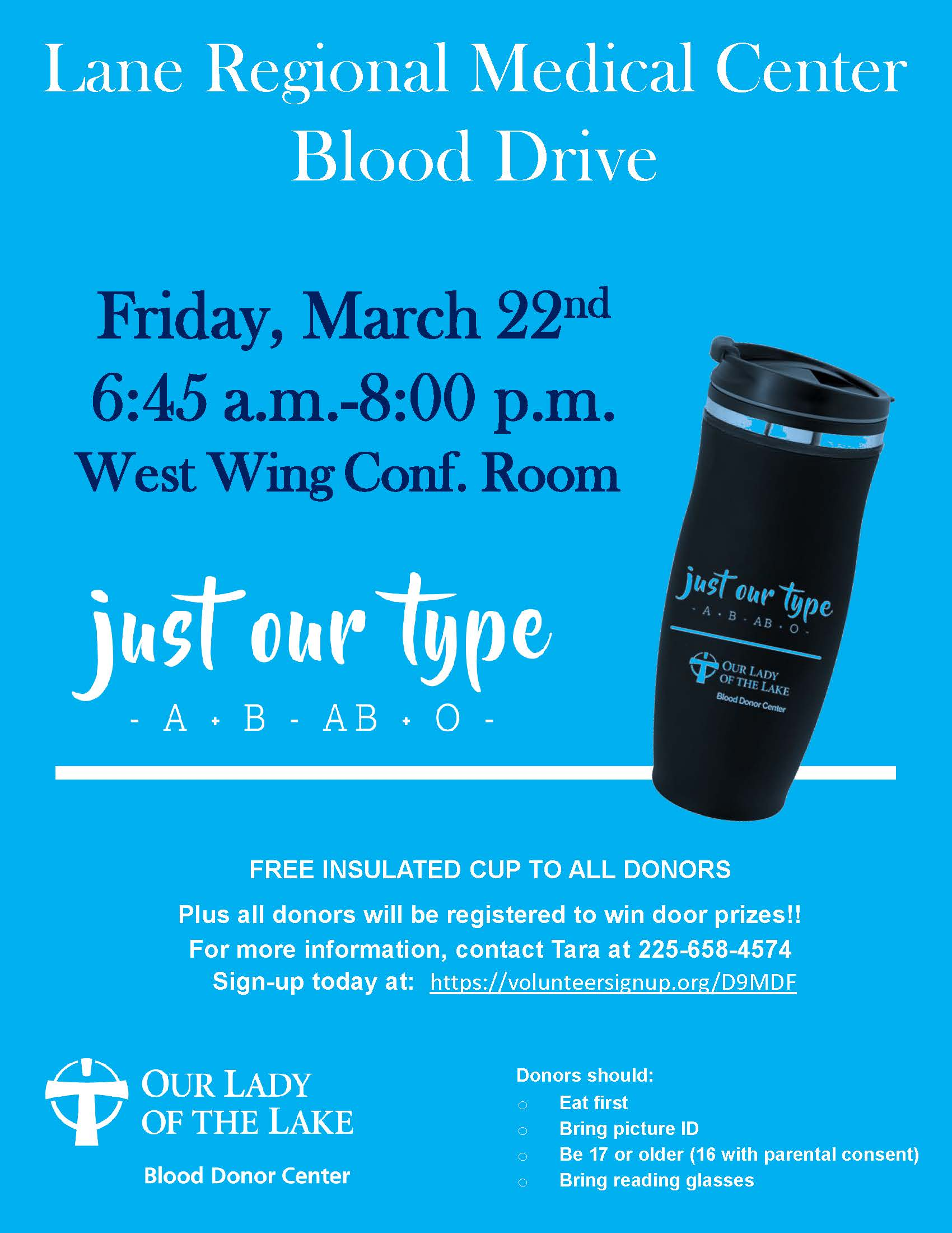 Blood Drive at Lane RMC Friday March 22nd