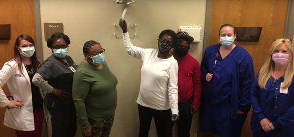Glenda Wilson Rings the Bell at Lane Cancer Center
